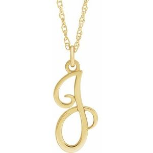 "14K Yellow Gold-Plated Sterling Silver Script Initial J 16-18"" Necklace"