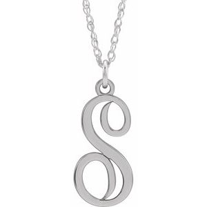 "Sterling Silver Script Initial S 16-18"" Necklace"