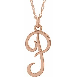 """14K Rose Gold-Plated Sterling Silver Script Initial P 16-18"""" Necklace"""