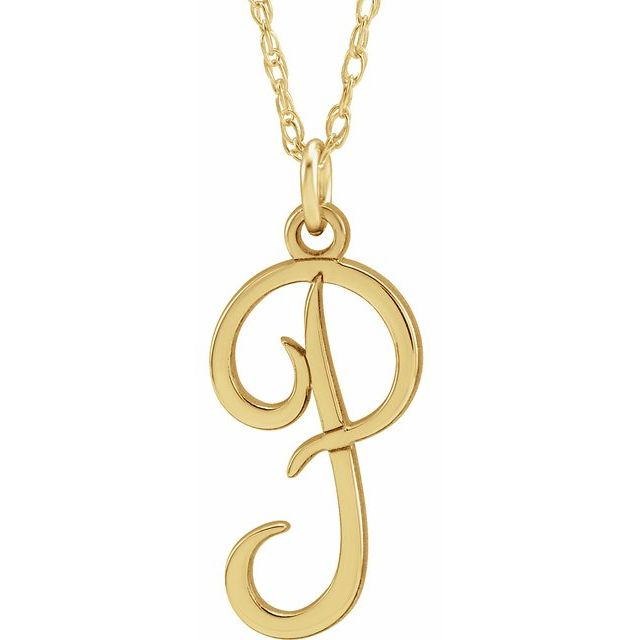 """14K Yellow Gold-Plated Sterling Silver Script Initial P 16-18"""" Necklace"""