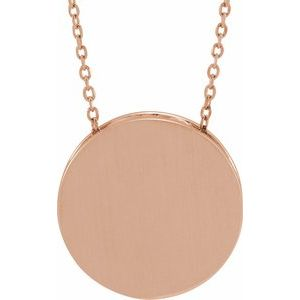 "14K Rose 17 mm Scroll Disc 16-18"" Necklace"