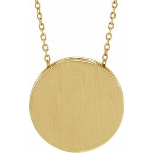 """14K Yellow 17 mm Scroll Disc 16-18"""" Necklace"""