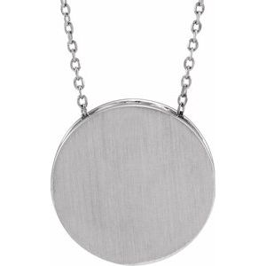 "Sterling Silver 17 mm Scroll Disc 16-18"" Necklace"