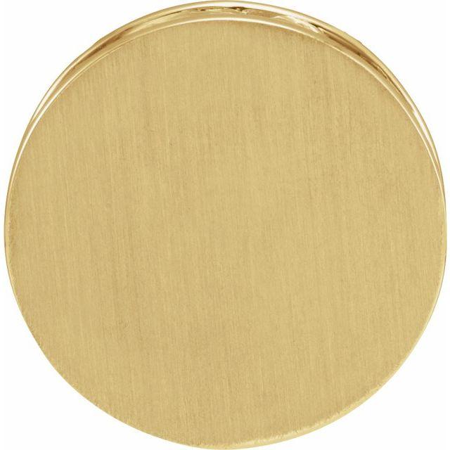 14K Yellow 17 mm Engravable Scroll Disc Slide Pendant