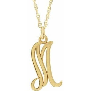 "14K Yellow Gold-Plated Sterling Silver Script Initial M 16-18"" Necklace"