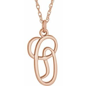 "14K Rose Gold-Plated Sterling Silver Script Initial O 16-18"" Necklace"