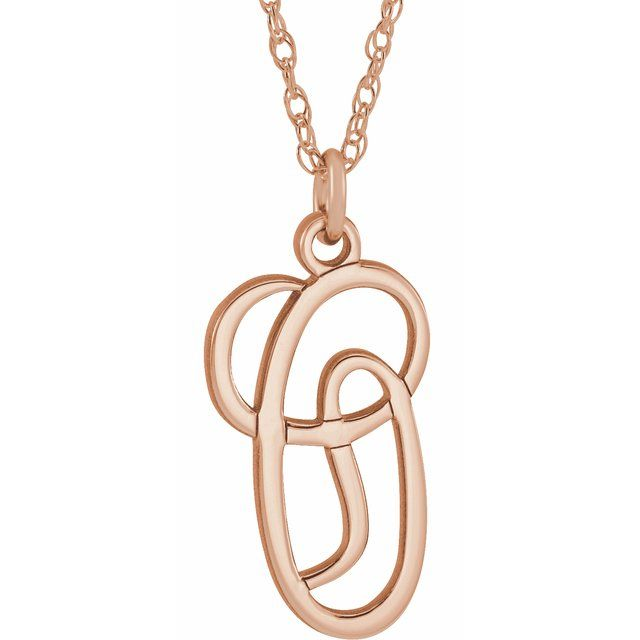 14K Rose Gold-Plated Sterling Silver Script Initial O 16-18