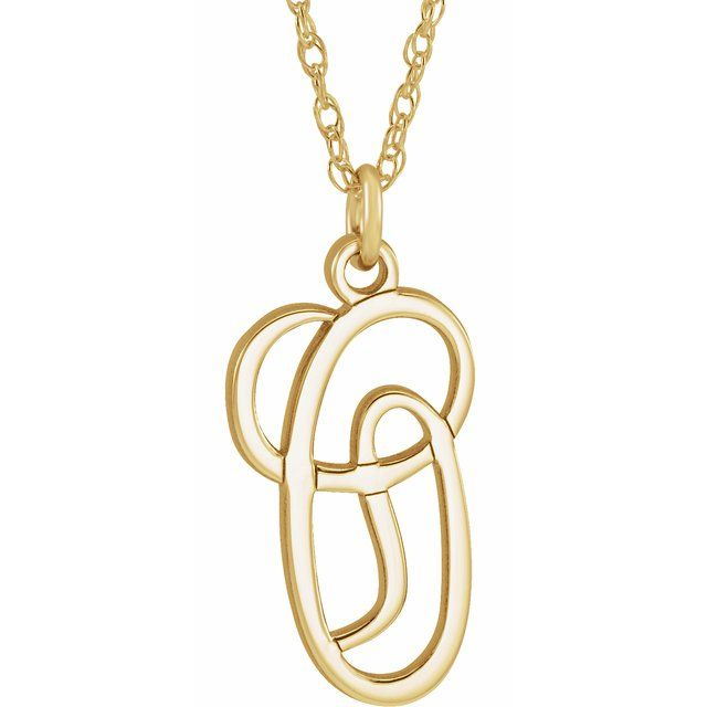 14K Yellow Gold-Plated Sterling Silver Script Initial O 16-18