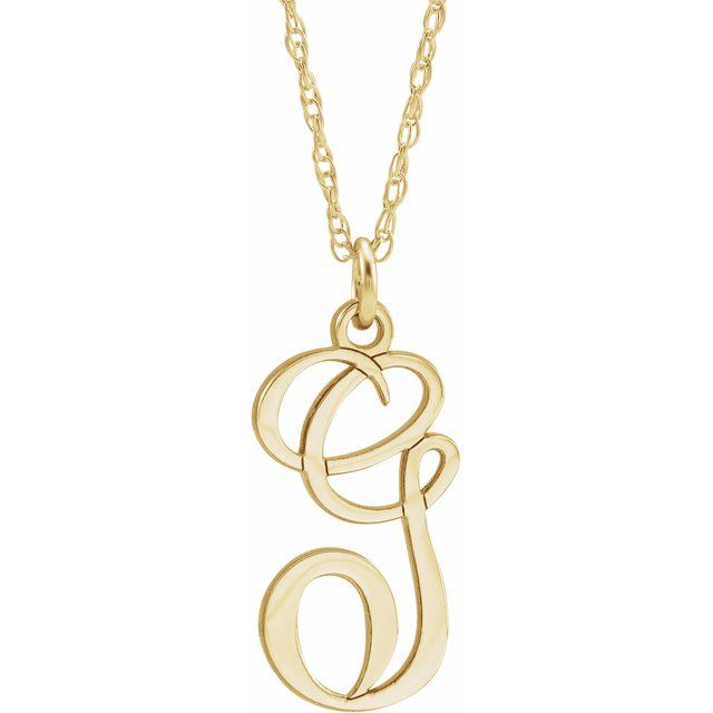 14K Yellow Gold-Plated Sterling Silver Script Initial G 16-18