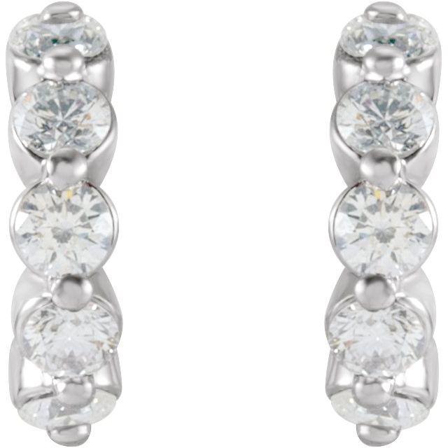 14K White 3/8 CTW Diamond 9.25 mm Huggies