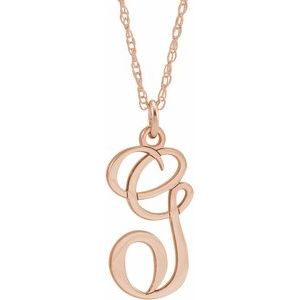 "14K Rose Gold-Plated Sterling Silver Script Initial G 16-18"" Necklace"