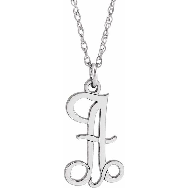 Sterling Silver Script Initial A 16-18