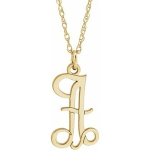 "14K Yellow Gold-Plated Sterling Silver Script Initial A 16-18"" Necklace"