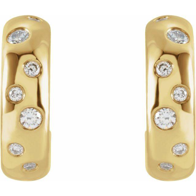 14K Yellow 1/8 CTW Diamond Huggie Earrings