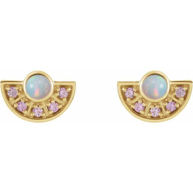 14K Yellow Ethiopian Opal & Pink Sapphire Fan Earrings