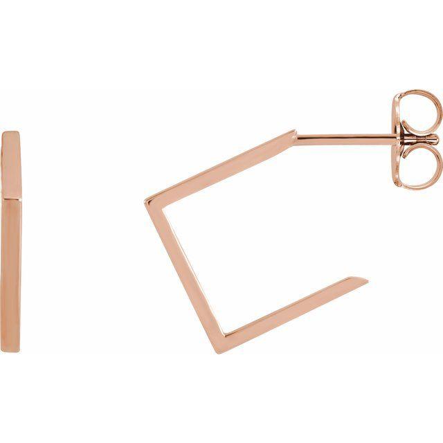 14K Rose 15.76 mm Geometric Hoop Earrings