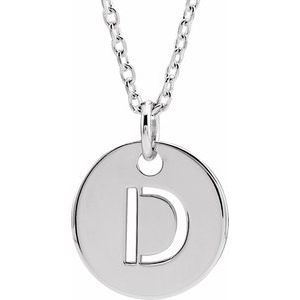 """14K White Initial D 10 mm Disc 16-18"""" Necklace"""