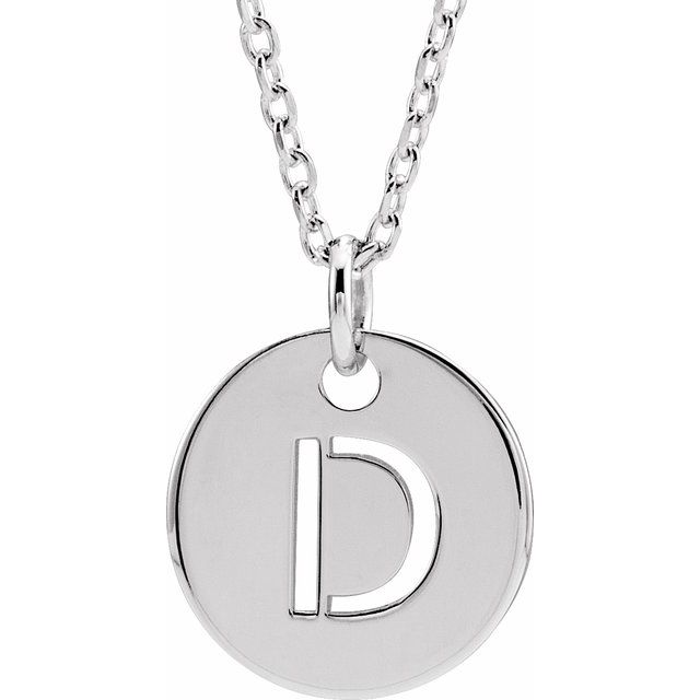 Sterling Silver Initial D 10 mm Disc 16-18
