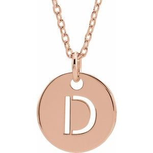 "18K Rose Gold-Plated Sterling Silver Initial D 10 mm Disc 16-18"" Necklace"