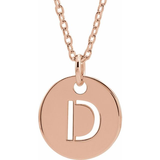 18K Rose Gold-Plated Sterling Silver Initial D 10 mm Disc 16-18