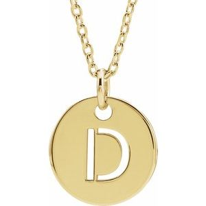 "18K Yellow Gold-Plated Sterling Silver Initial D 10 mm Disc 16-18"" Necklace"