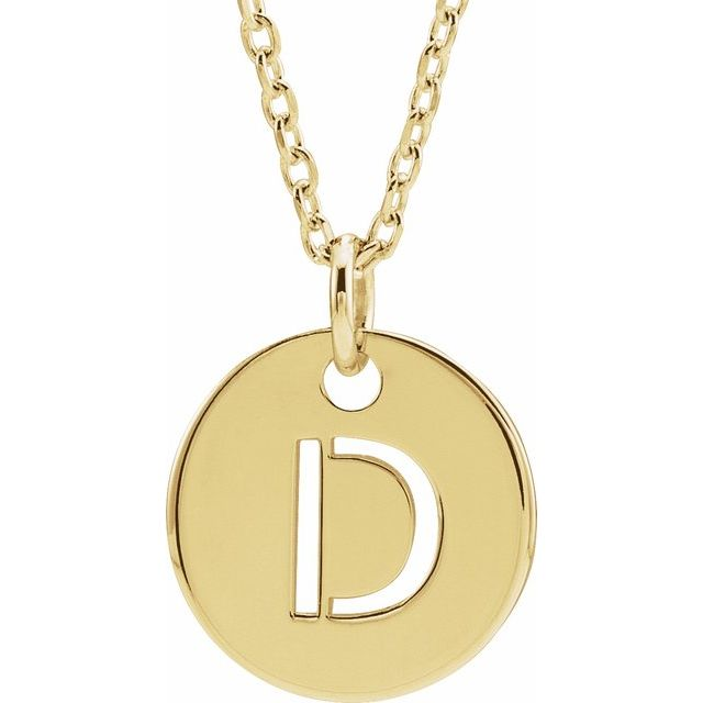18K Yellow Gold-Plated Sterling Silver Initial D 10 mm Disc 16-18