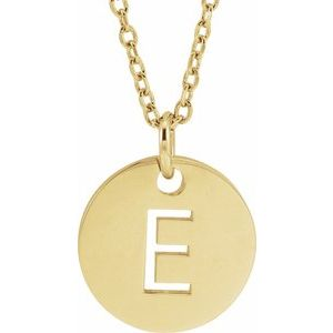 "14K Yellow Initial E 10 mm Disc 16-18"" Necklace"