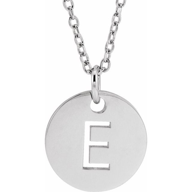 Sterling Silver Initial E 10 mm Disc 16-18