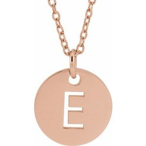 "14K Rose Initial E 10 mm Disc 16-18"" Necklace"