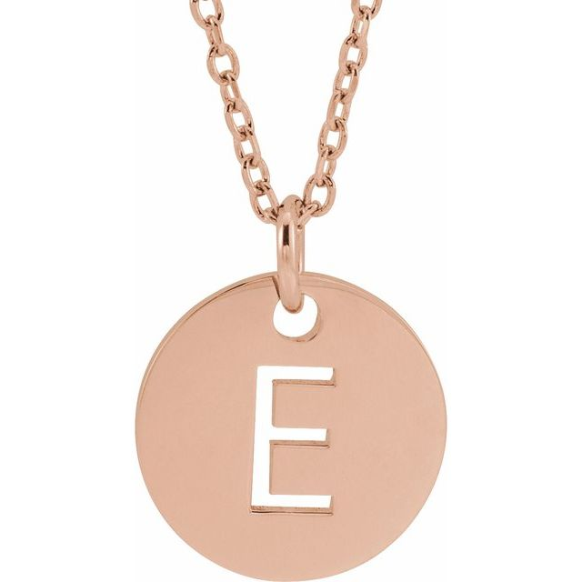 18K Rose Gold-Plated Sterling Silver Initial E 10 mm Disc 16-18