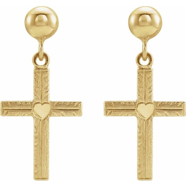 14K Yellow 13x10 mm Cross Ball Dangle Earrings