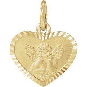 14K Yellow 8x7 mm Heart Cherub Angel Medal