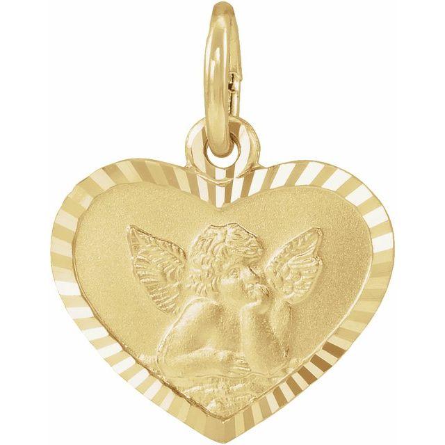 14K Yellow 12x9 mm Heart Cherub Angel Medal