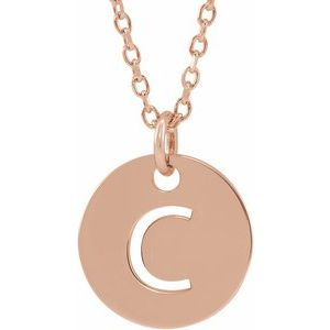 "14K Rose Initial C 10 mm Disc 16-18"" Necklace"