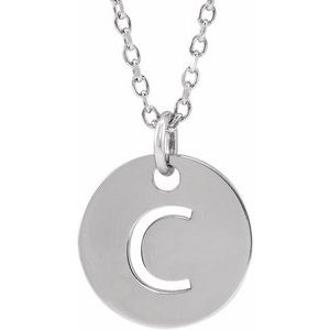 "14K White Initial C 10 mm Disc 16-18"" Necklace"