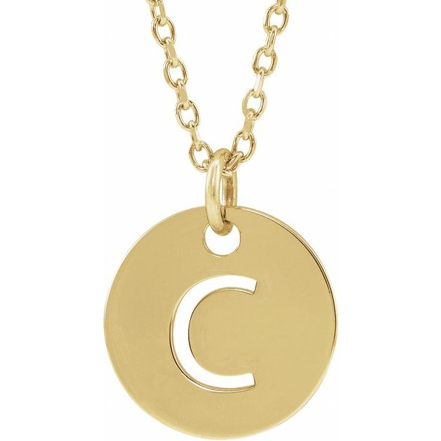 18K Yellow Gold-Plated Sterling Silver Initial C 10 mm Disc 16-18