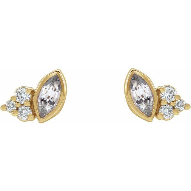 14K Yellow Sapphire & .05 CTW Diamond Earrings