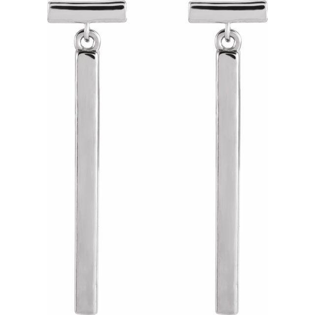 14K White Articulated Bar Earrings