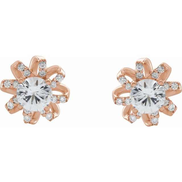 14K Rose Sapphire & 1/6 CTW Diamond Halo-Style Earrings