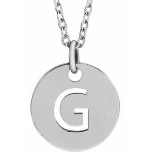 "Sterling Silver Initial G 10 mm Disc 16-18"" Necklace"