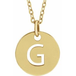 """14K Yellow Initial G 10 mm Disc 16-18"""" Necklace"""
