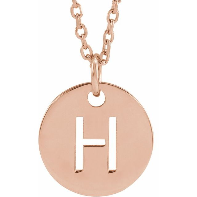 18K Rose Gold-Plated Sterling Silver Initial H 10 mm Disc 16-18