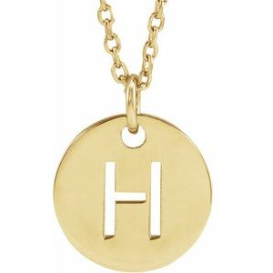 "14K Yellow Initial H 10 mm Disc 16-18"" Necklace"