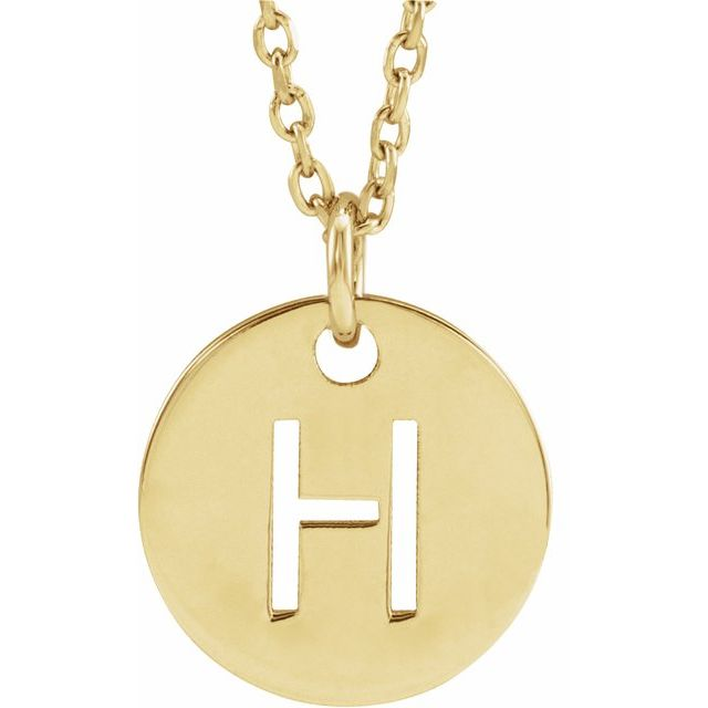 18K Yellow Gold-Plated Sterling Silver Initial H 10 mm Disc 16-18