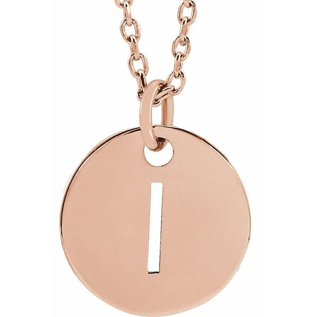 18K Rose Gold-Plated Sterling Silver Initial I 10 mm Disc 16-18