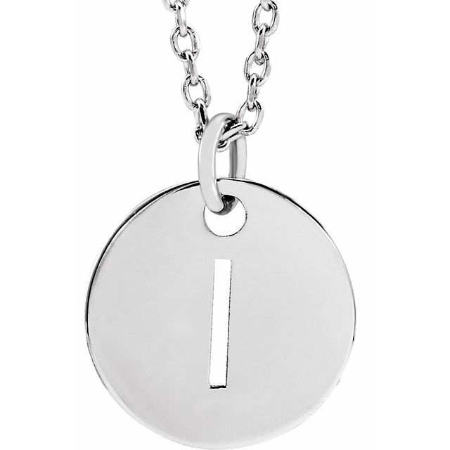 Sterling Silver Initial I 10 mm Disc 16-18