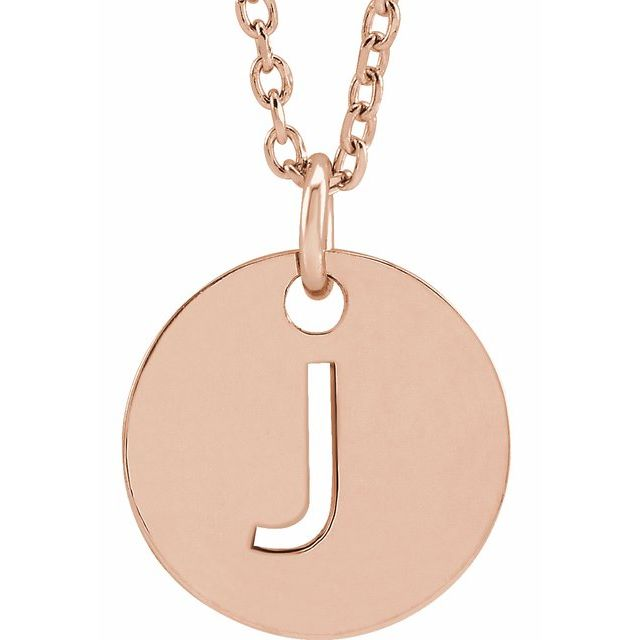 18K Rose Gold-Plated Sterling Silver Initial J 10 mm Disc 16-18