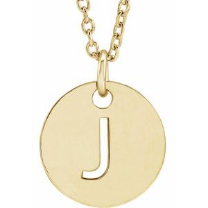 "14K Yellow Initial J 10 mm Disc 16-18"" Necklace"