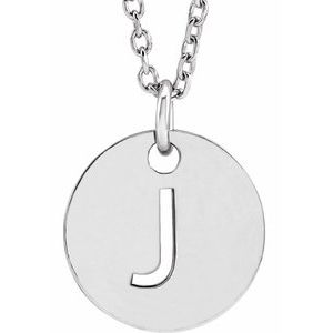 """14K White Initial J 10 mm Disc 16-18"""" Necklace"""