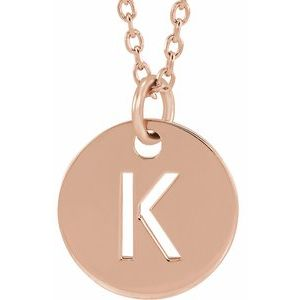 "18K Rose Gold-Plated Sterling Silver Initial K 10 mm Disc 16-18"" Necklace"